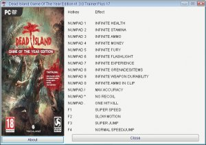Dead Island : Game of the Year Edition  трейнер +17 (чит)