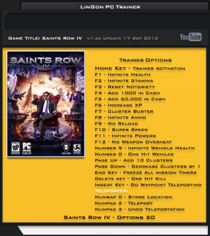 Saints Row 4  трейнер +20 (чит)
